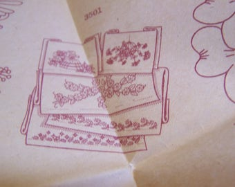 "Vintage Aunt Martha ""Pillow Slips"" #3501 Hot Iron Transfers for  Embroidery, Uncut No Envelope"