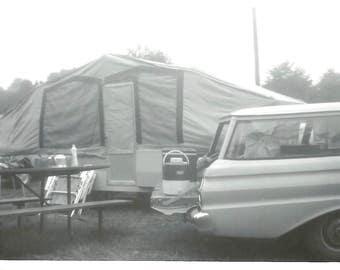 "Vintage Snapshot ""Happy Camper"" Pop-Up Camper Trailer Ford Fairlane Station Wagon Found Photo"