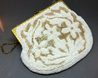 1940's LUJEAN BEADED Bag / Vintage Evening Bag / Wedding Clutch / White Bridal Purse