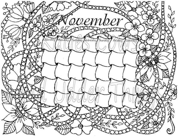 november doodled calendar coloring page
