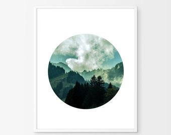Mountains Circle Print Landscape Art Print Minimalist Nordic Trees Forest Nature Print Scandinavian art Clouds Blue Green Wall art Printable