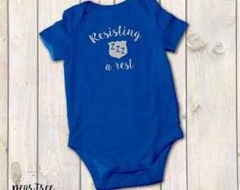Resisting a Rest - baby bodysuit - Silver vinyl - LEO, police officer baby