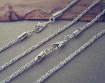 10pcs 2mm multicolour silver color (copper ) necklace chain 63cm