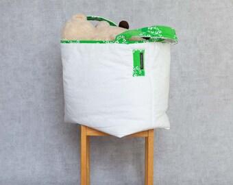 L Fabric Basket, Toy Storage, Storage Basket, Storage Bin, Nursery Storage, Project Bucket // Vintage Green Florals // White Canvas