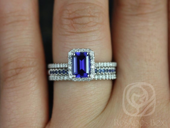 Rosados Box Lisette 7x5mm & Kierra 14kt White Gold Emerald Cut Blue Sapphire and Diamonds Halo TRIO Wedding Set