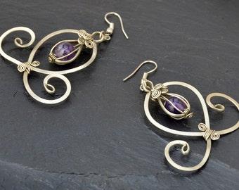 Wire Wrap Dangle Earrings, Amethyst Earrings, Purple Gemstone Earrings, Art Nouveau Earrings, Bohemian Earrings, Long Earrings