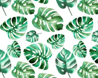 Watercolor Leaves, Monstera, Tropical Leaves | Crib Sheet, Baby Blanket, Lovey Blanket, Boppy Cover, Changing Pad Cover, Tropical Bedding