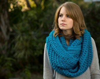 Bright Blue Infinity Scarf, Teal Crochet Chunky Cowl, Women's Winter Accessories