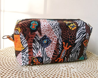 Tribal MAKEUP CASE Box Bag Cosmetic Masks Salamander Animal Print Dopp Kit Storage Bag Toiletry Travel