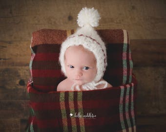 Newborn knit mohair blend pixie style pompom christmas theme photo prop baby gift