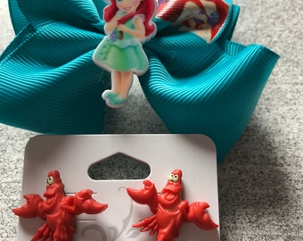 Disney Ariel bow and Sebastian stud earrings