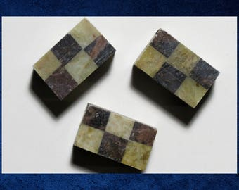 Soapstone - Large 15x25mm checkerboard rectangle cube.  Set of 3 brown and tan large stone beads. #SOAP-003