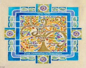 Family Tree - Personalized Family Tree - Tree of Life - Jewish Judaica Wall Art - Hebrew English names - Wall Art Decor - Jewish home gift