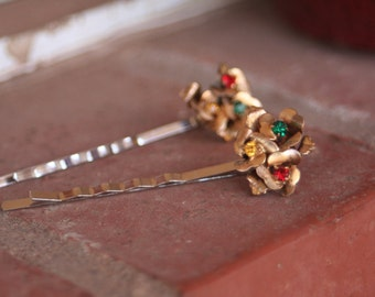 H81-82 Vintage ROSES Red Siam Yellow Topaz Emerald Green Rhinestone Upcycled Hair Pins