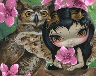 Owlyn in the Springtime owl flower cherry blossom fairy art print by Jasmine Becket-Griffith 8x10
