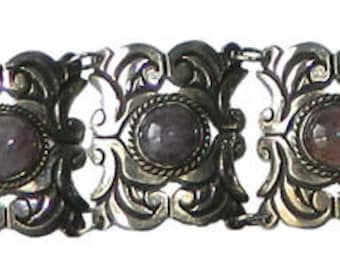 Vintage 1930's Mexican Sterling Silver Amethyst Bracelet