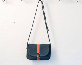 Small bag Harriet, shoulder bag in Navy Blue nubuck and neon red stripe