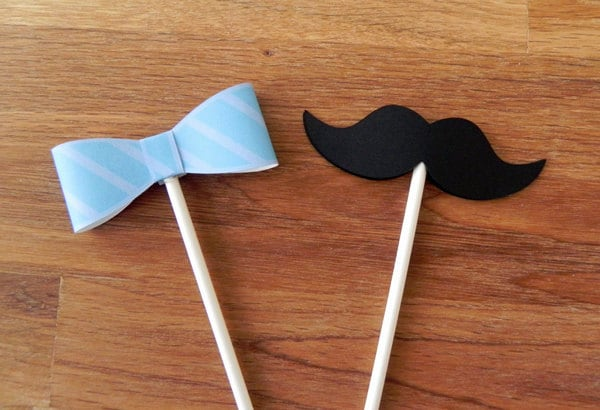 Cupcake Toppers: Little Man Bow Ties And Mustaches Baby Shower Or Birthday  Party   Die Cut Mustaches Bow Ties