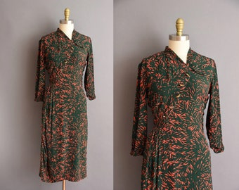 40s abstract rayon print dress by Cirilo Medium green vintage 1940s dress
