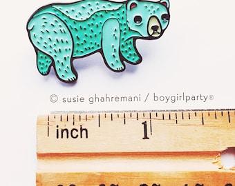 POLAR BEAR enamel pin, blue bear brooch jewelry, ice bear pin, climate change pin, groomsmen gift, metal pins, emo, weird pins