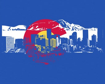Men's Colorado Flag w/ Denver Skyline Silhouette