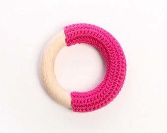 Natural baby.. DEEP PINK crochet teething ring for a baby girl :)