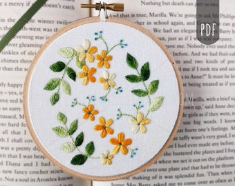 PDF Hand Embroidery Pattern Botanical Flower and Leaves Hand Stitching DIY Craft