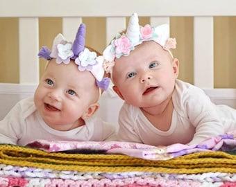 Infant Headband - Baby Girl Unicorn Headband - Baby Violet