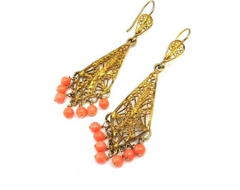 Sterling Silver Gold Vermeil Filigree Earrings, Vintage Glass Earrings, Gold Drop Earrings, Coral Glass Dangles, Victorian Revival Jewelry