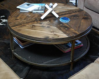 Industrial Round Wood Coffee Table, Two Tier Table, Wood Furniture Rustic, Industrial Furniture, Round Table, Rustic Table, Round Table
