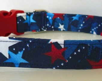 "Patriotic Dog Collar - Red, White & Blue Stars - 4th Of July ""Kennedy""- Free Colored Buckles"