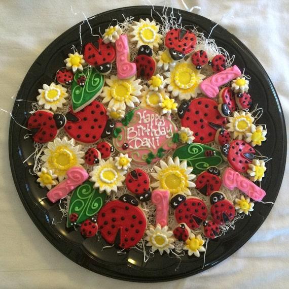 Lady Bug Birthday Sugar Cookie Tray