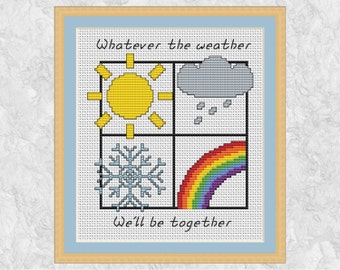 Weather symbols cross stitch pattern, quote, sun, rainbow, snowflake, cloud, together, love, family, Valentine's Day, easy, printable PDF