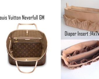 Diaper Extra Large Purse organizer for Louis Vuitton Neverful GM in Sand fabric with elastic pockets