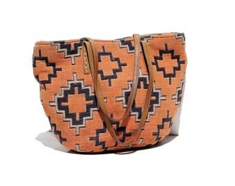 Vintage Cotton Geometric Pattern Tote Bag