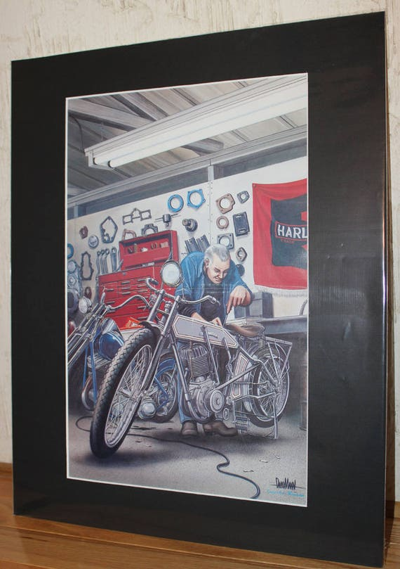 David Mann ''Old Bike, Old Wrench'' 16'' x 20'' Matted Biker Art #7803ezrxmb