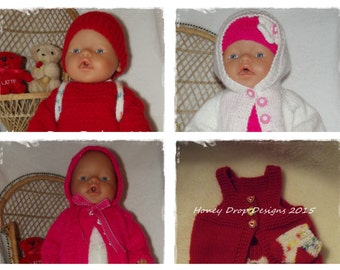 Baby Born #1,2,3 & 4 - To fit 16-17 Inch Dolls -4 PDF Knitting Patterns