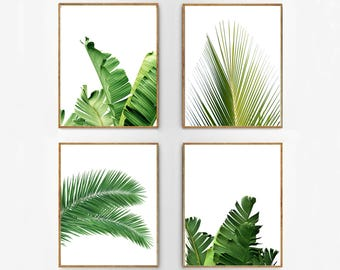 Set of 4 Tropical Leaves, Leaf Prints set, Green Wall art, Minimalist Posters, Palm Leaf Banana Leaf Tropical Wall art Nordic Nature Prints