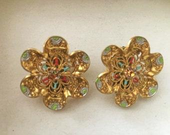 Vintage German Gold Tone Pink Rhinestone Clip On Earrings