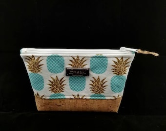 "9"" x 5"" - Aqua Pineapple Cosmetic - Gadget Bag - zipper pouch - Bag organizer -"