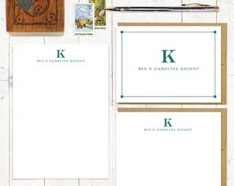 Personalisierte Briefpapierset - Notizblock und Notecard stationäre Set - Monogramm stationär - Geschäft - Monogramm - professionelle MONOGRAMM
