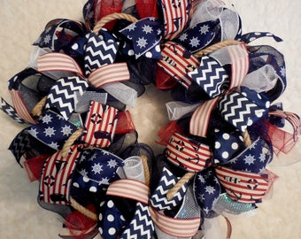 Summer Wreath, Beach Wreath, Fourth of July Wreath, 4th of July Wreath, WreathS, Wreath, Wreaths, Patriotic Wreath, Wreath