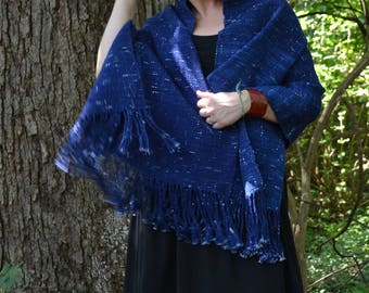 Hand-dyed Woven Cotton Wrap: Dark Blue