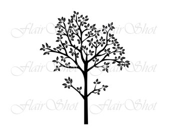 Digital Tree Clip Art, Silhouette Tree Clipart, Family Tree Clipart, Outline Clipart INSTANT DOWNLOAD