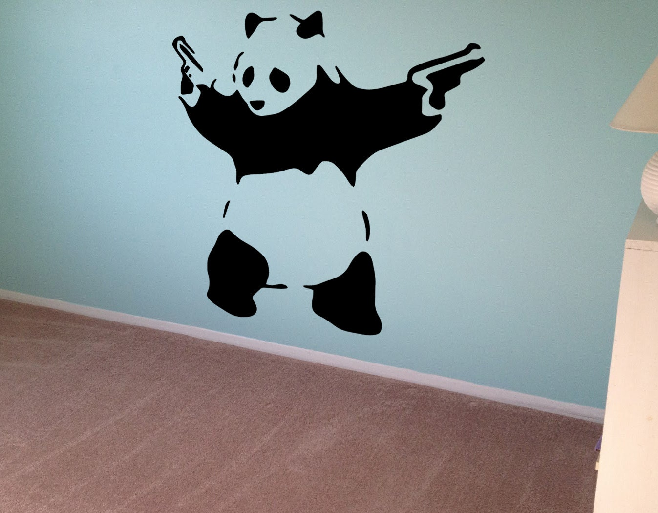 Banksy Wall Decal Panda Guns Wall Art Wall Sticker Vinyl - Custom vinyl wall decals graffiti