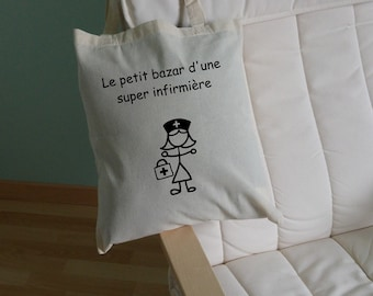 """Tote bag personalized """"travel to a super nurse"""" natural color - color choices"""