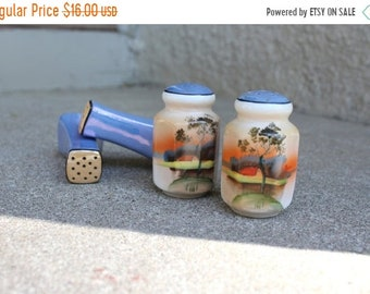 SALE SALE SALE Vintage Salt Pepper Shakers Two Sets Coordinating Asian Ceramic Glaze Hand Painted Japanese Coral Periwinkle Blue 1950s Colle