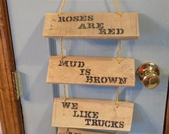 Wooden Country folk Art Sign