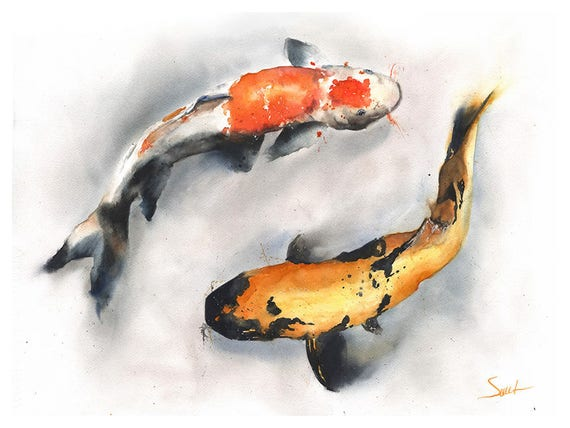 Koi fish print koi watercolor koi art print koi print koi for Koi fish art print