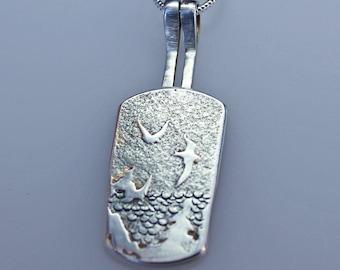 Sea Birds, Handmade Silver Jewellery, Silver Pendant, Bird Jewelry, Bird Pendant.